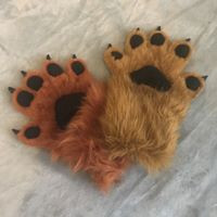 caramel and amber hand paws with fleece pawpads