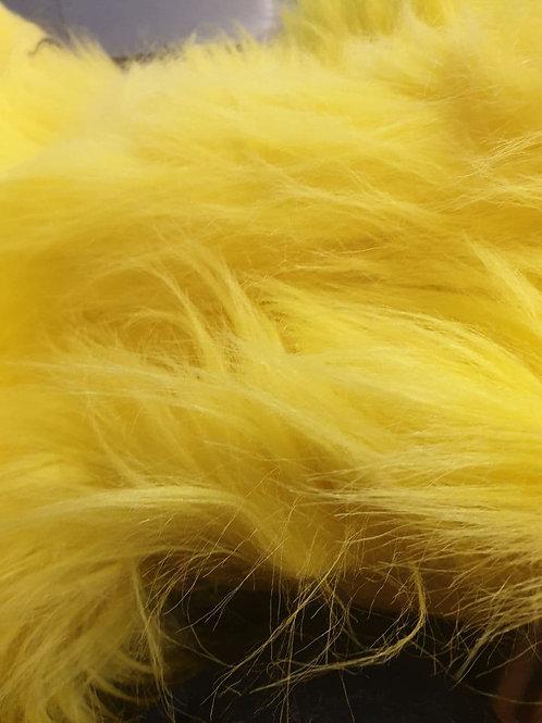 Banana Yellow Fox Fluffy 80mm Longpile - Half Yard Piece