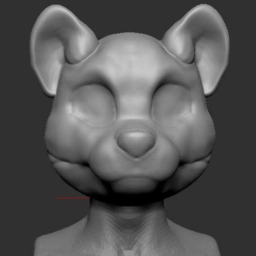 Toony red panda 3d printed head base