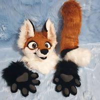 Furry Tailor fox partial premade toony static eyes sttic jaw premade sold happy expression