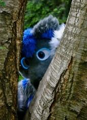 Zarconite grey blue fursuit EL wire light up eyes