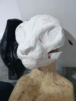 snow leopard fursuit head base resin or foam