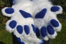 Hand Paws (with fimo claws and fleece pawpads)