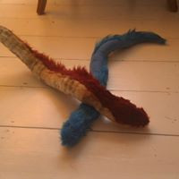 red and blue snake plushies