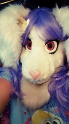 Alice furry tailor head partial wig interchangeable pink silicone nose