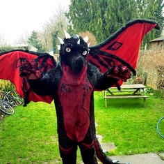 red black dragon fursuit fullsuit tattoos