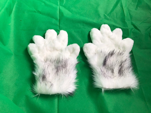 5 Digit Hand Paws - Black Tipped White Wolf