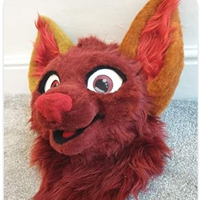 Fox fursuit happy burgundy marroon red minky nose happy toony partial fursuit