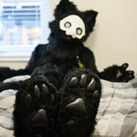Puro fursuit feet paws vinyl pads mask happy Puro Changed fursuit digitigrade