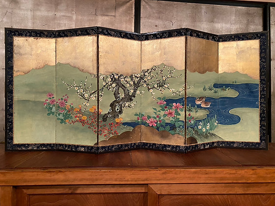 Flower and Ducks Screen  [A-SC 1058]
