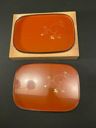 Lacquer Trays, Wajima lacquer (pair) [H-T 1051]