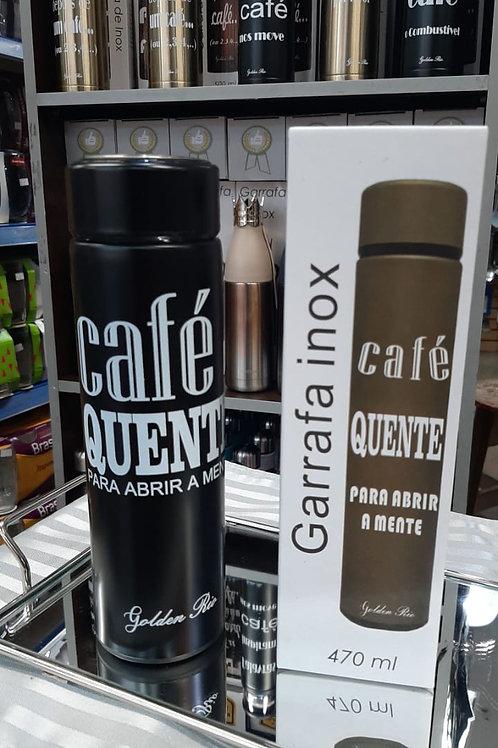 GARRAFA TÉRMICA INOX FRASE: CAFÉ QUENTE PARA ABRIR A MENTE