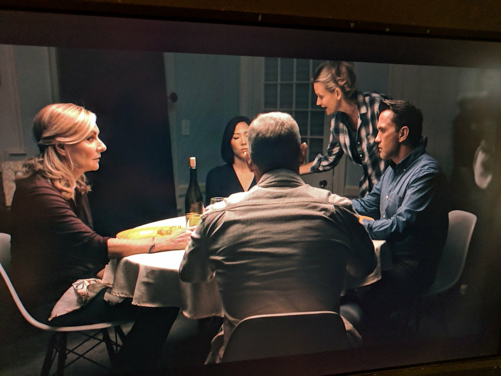 A shot of Gary Hilborn on set with the cast and director of HIDING IN DAYLIGHT - photo by Tom Schopper