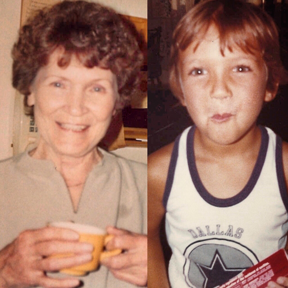 My Nana sipping coffee in her kitchen and me around the time she let me ruin her coffee table with Lemon Pledge