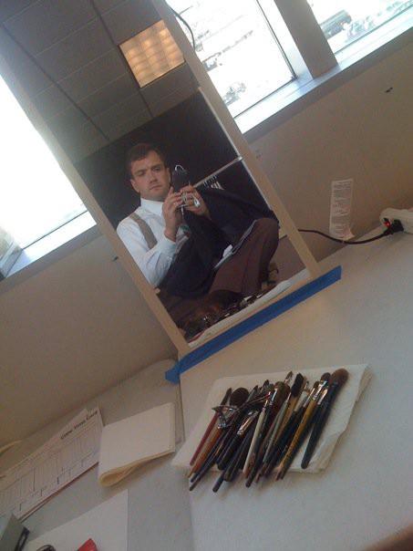 "Gary Hilborn in the ""Mildred Pierce"" make-up chair"