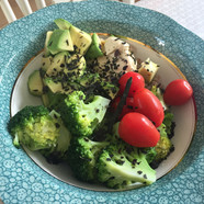 Greens for lunch  with seaweed sprinkles