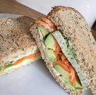Tofu, carrot, avocado, hummus and pesto toasted sarnie