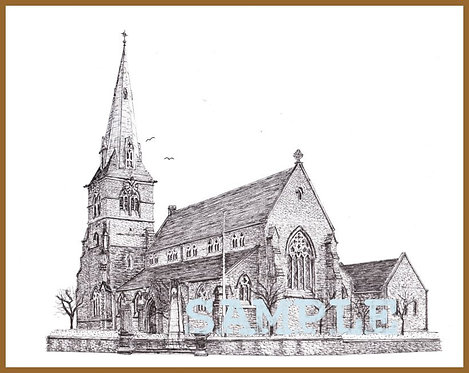St Peter's Church, Hindley A4 print
