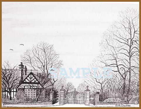 Mesnes Park Lodge, Wigan A4 print