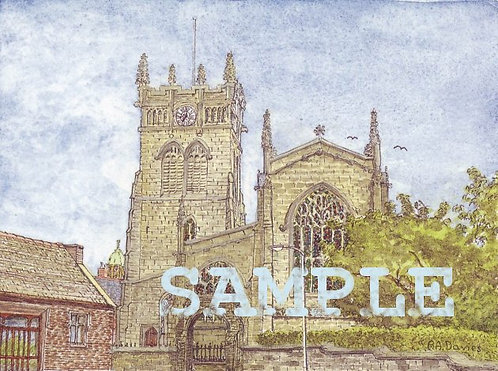 All Saints Parish Church, Wigan A5 col print