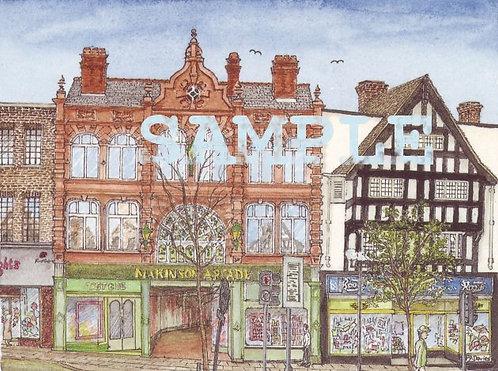 Makinson Arcade, Wigan A5 colour print