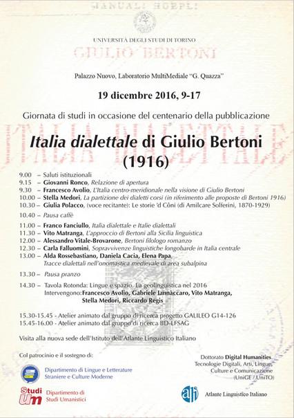 L'università di Turinu festighjeghja i centu anni di l'Italia Dialettale è a Corsica hè invi