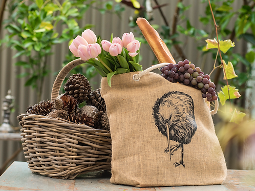 Jute Bag with Kiwi print
