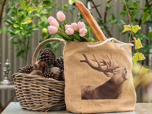 Jute Bag with Stag Print