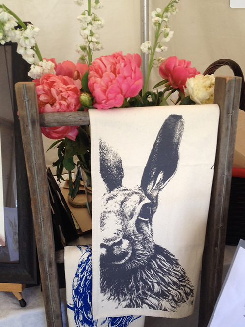 Moon Hare: Single-colour Art Print Tea Towel