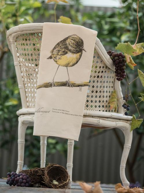 Robin: Multi-coloured Art Print Tea Towel