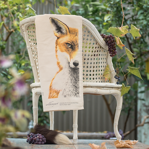 Fox: Multi-coloured Art Print Tea Towel