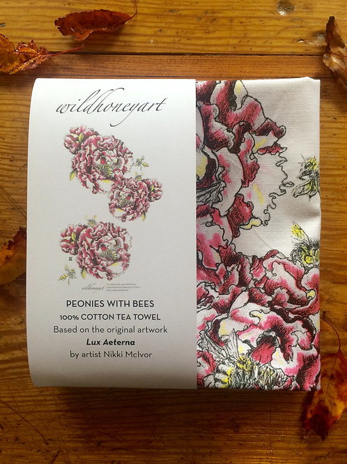 Peonies: Multi-coloured Art Print Tea Towel