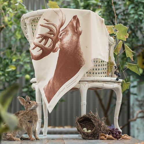 Stag: Single-colour Art Print Tea Towel