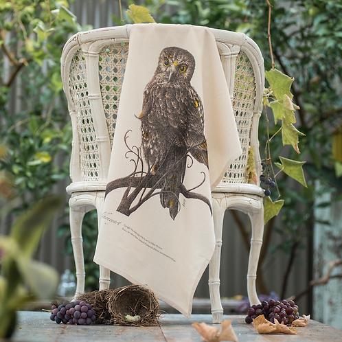 Morepork: Multi-coloured Art Print Tea Towel