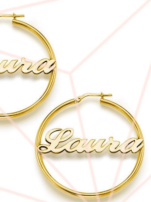 10k Gold Name Hoops