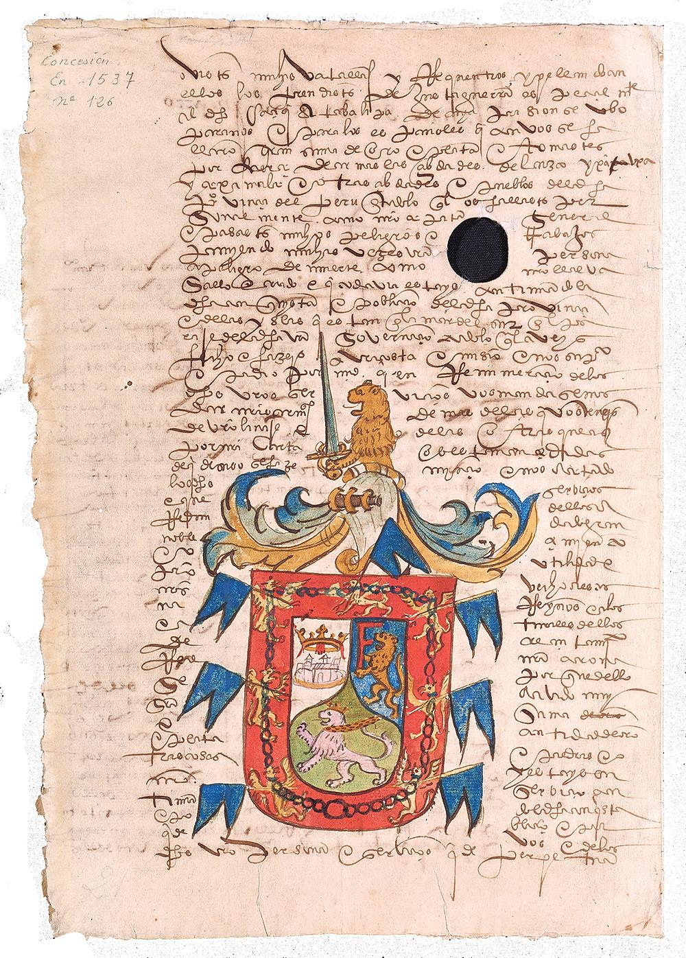 Escudo de Armas de Don Francisco Pizarro.