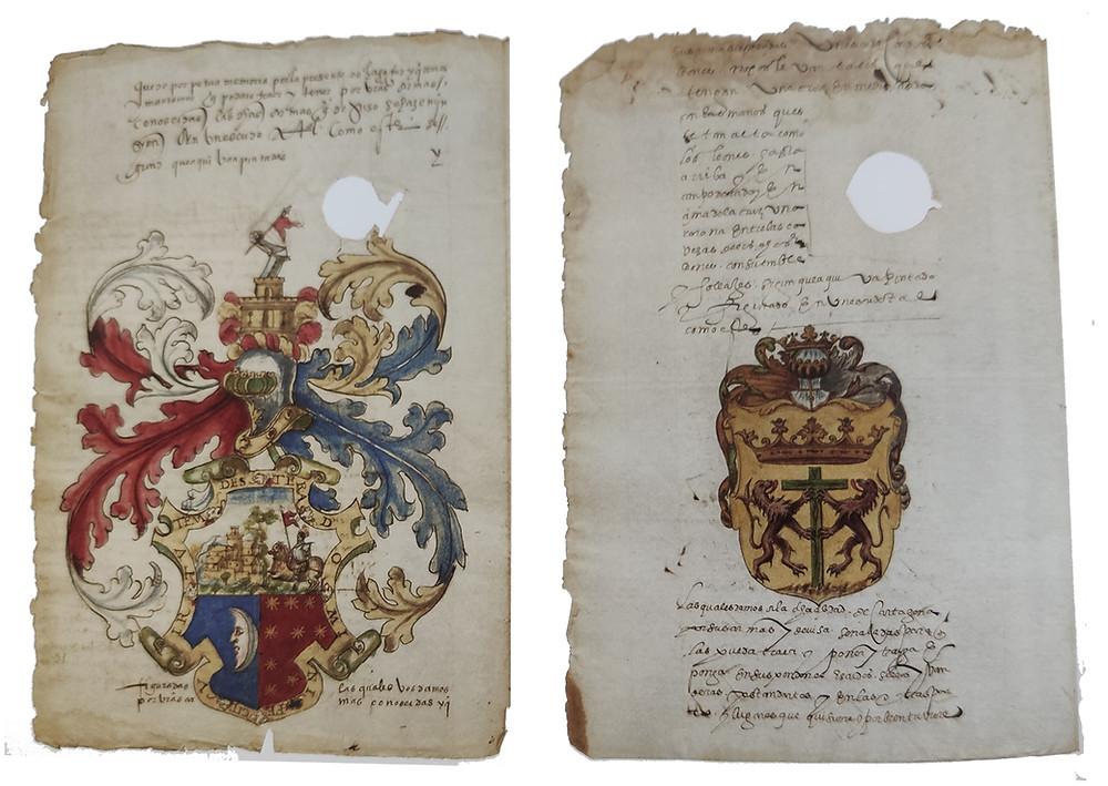 Izda. Escudo de armas de Alonso de Arcos, conquistador de Popayán. Dcha. Escudo de armas de la ciudad de Cartagena de Indias.