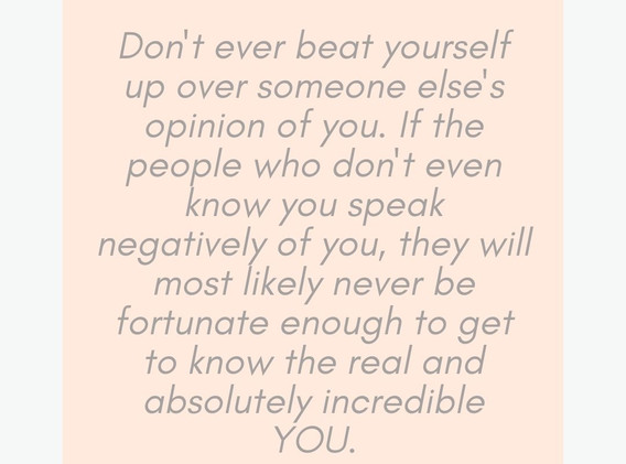 Don't ever beat yourself up over someone