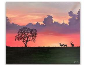 """""""Nature au crépuscule"""" - Oeuvre originale de l'artiste Gaëlle Bel"""