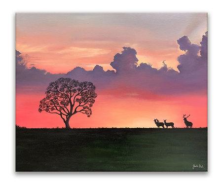 Peinture à l'huile Nature au crépuscule cerf et biches au couché de soleil