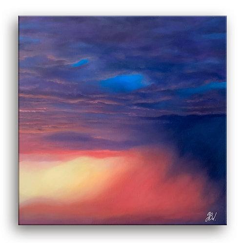 Peinture à l'huile représentant un ciel après l'orage