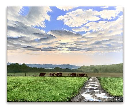 Peinture à l'huile chemin de campagne levé du jour champs et vaches Haute-Marne