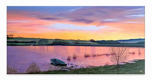 Peinture à l'huile lac en hiver au couché du soleil Haute-Marne