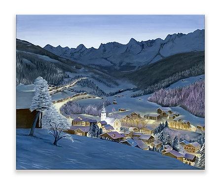 Peinture à l'huile paysage de montagne de nuit Grand Bornand Haute-Savoie