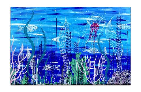 Peinture acrylique et Posca sous l'océan avec méduse