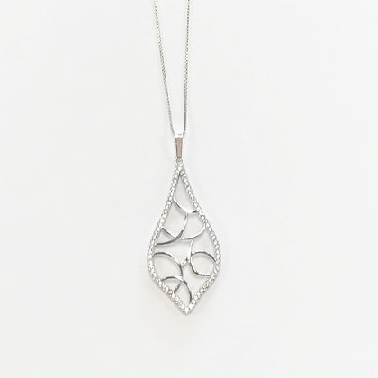 Sterling Silver Cubic Zirconia Leaf Pendant