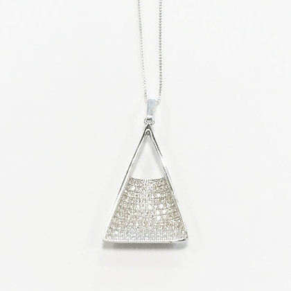 Sterling Silver Cubic Zirconia Triangle Pendant
