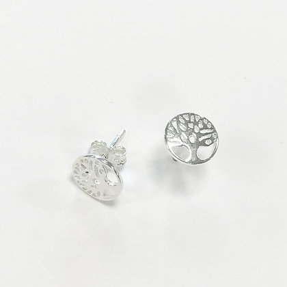 Sterling Silver Tree of Life Disc Studs