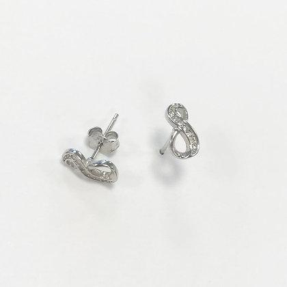 Sterling Silver Cubic Zirconia Infinity Loop Studs