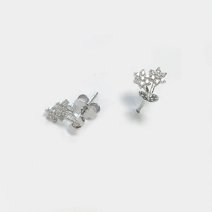 Sterling Silver Cubic Zirconia Flower Duo Studs